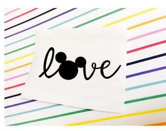 LOVE Mickey Mouse Decal Stickers | LOVE Disney Ears Heart Decal | Disney Believe | Disney Sticker | Disney Car Vinyl Decal | Disney Laptop
