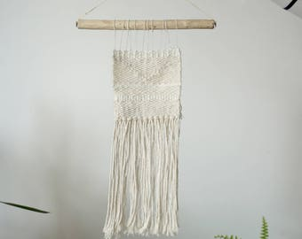 All white mini | Minimalist handwoven wall hanging made of recycled wool