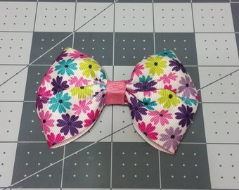 Multi-colored flower Hair Bow