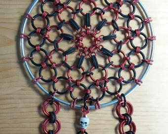 Hand-Made Red & Black Chainmail Dream Catcher