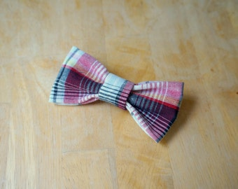 Red and Black Plaid Baby Bow Tie with Safety Bar Clip