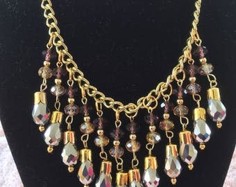 "20"" Gold Tone Purple Waterfall Dangling Beaded Necklace"