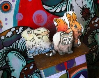 Set of 4 Cute Playful Animal Decorative Pillows