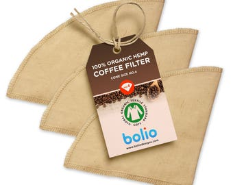 Organic Hemp Cone Coffee Filters - Works on Chemex, Bodum and most types of pour-over coffee makers.