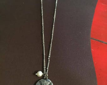 Baseball Necklace with Pearl Charm