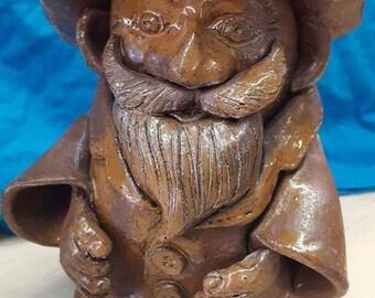 Stoneware Gnome Sculpture