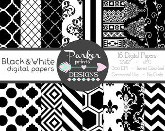 Black and White Digital Paper Pack, Seamless Patterns, Scrapbooking, Printable, Instant Download, Commercial Use, Chevron, Damask, Stripes