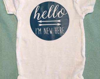 I'm new here, baby onesie, baby bodysuit, custom onesie, personalized onesie