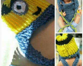 Minion Newborn Hat and Diaper Cover/Jumpsuit