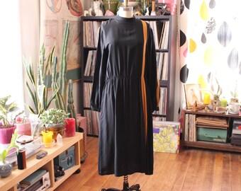 1980s black silk dress, womens large xl . black dress with mustard yellow stripe and mock neck collar