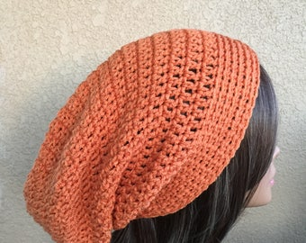 Slouchy Hat, Slouchy  Beanie,  Boho Hat, Orange  Slouchy,  Woman's slouchy, Autumn Color Crochet Hat,  Trendy Beanie