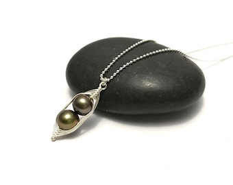 Pea pod necklace //  Two peas in a pod with bronze forest green pearls Peapod jewelry, gift for sister, best friend // great gift for mom