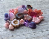 Czech Glass Flower Bead Mix, Purple and Pink  25 pieces