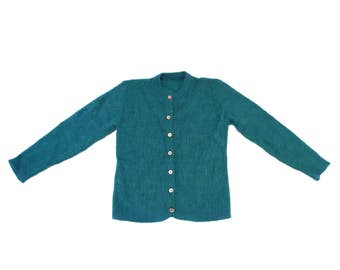 Vintage 1960's Mohair Cardigan Mermaid Blue Green Vintage Small XS