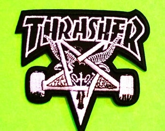 Thrasher Skate Magazine Old School Brand Logo Pentagram Deck Hot Rod Flames Fire Embroidered Canvas Iron or Sew On Patch - More Styles