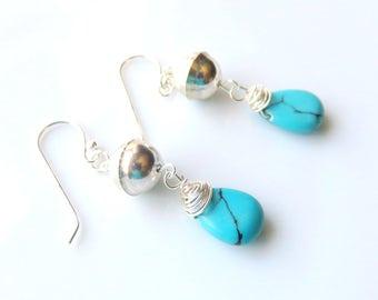 Blue Turquoise Drop Earrings, Silver Gemstone Jewelry, Wire Wrapped Turquoise Teardrops, Southwestern Earrings, Rustic Silver Balls