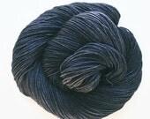 charcoal / hand dyed yarn / fingering sock dk bulky yarn /super wash merino wool yarn/single or ply / choose your base /black dark grey yarn
