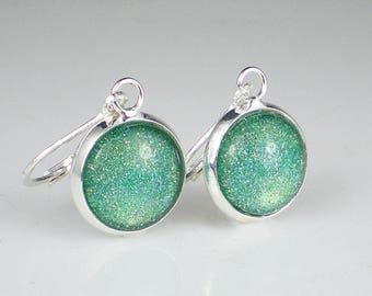 Blue Green Holo Glitter Nail Polish Earrings Jewelry