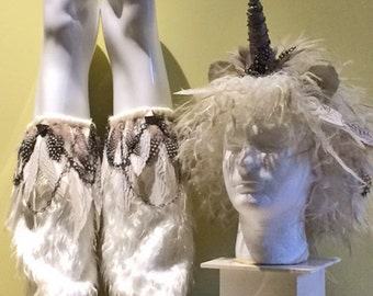 Male Unicorn Headpiece/Leg Covers with Feathers & Chain