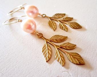Champagne Pearl Belle Fleur Earrings - Leaves - Brass - Gold Fill - Petal - Earrings - Etsy Jewelry - catROCKS - Blush - Grace and Frankie