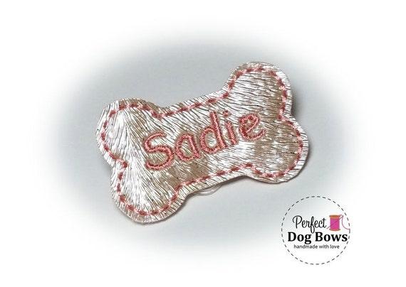 Bone Dog Bow, Personalized Embroidery, Dog Bone