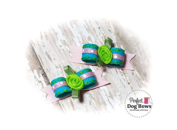 Spring Dog Bows - Pink/Turquoise Puppy Bows - Small Dog Bows