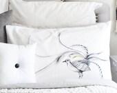 Lyre Bird pillow case, facing left. Native bird cotton sham, white printed pillowslip. Australian gift with original art by flossy-p