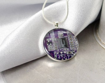 Circuit Board Necklace Purple, Recycled Computer Jewelry, Wearable Technology, Engineer Gift, Techie Scientist Necklace, Geeky Gift