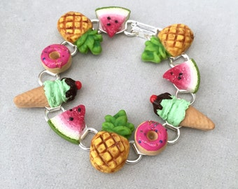 Summer Fun Bracelet - polymer clay miniature food jewelry - pineapple watermelon donuts and ice cream