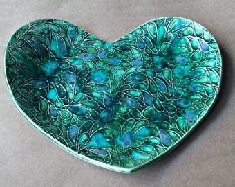 Ceramic Heart Dish Peacock green 9 inches wide Home accent
