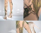 ON SALE/////// Tattoo Tights -  Climber Plant nude one size full length closed toe pantyhose tattoo socks ,printed tights