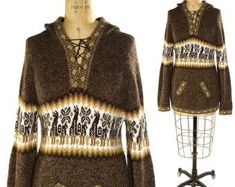 70s SOFT Alpaca Sweater / Vintage 1970s Peruvian Pullover Hoodie / Hippie Boho Ethnic South American Bohemian Southwest Jumper / Small