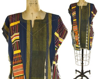 Handwoven African Tunic Vintage Handmade Embroidered Patchwork Peasant Caftan Ethnic Folk Hippie Boho Backstrap Loom Woven Plaid Cotton