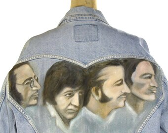 Hand Painted Beatles Levi's Denim Jacket Vintage One of a Kind Fab Four Band Jacket Hippie Boho UK Rocker Summer of Love Trucker Jacket M L