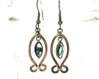 70s Sterling Silver & Abalone Fish Earrings / Vintage 1970s Mexican Dangle Earrings for Pierced Ears / Christian IXOYE Jesus Hippie