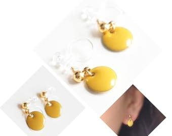Invisible Clip On Earrings. Non-pierced Earrings. U-Clip Earrings. Golden Drop. Mustard Yellow Earrings. Enamel Earrings