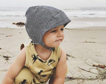 Baby Boy Sun Bonnet with Visor in Blue Denim