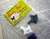 Vintage Scottie Dog Collectible Magnets Miniature Size Old Store Stock in Original Package Made in Hong Kong Scotty Dogs