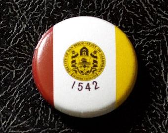 "1"" San Diego CA flag button - California, city, pin, badge, pinback"