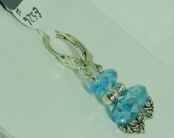 AB Blue Crystal and Sterling Silver Earrings - E526