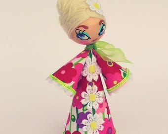 Beehive Vintage Fabric Handmade 60s Style Doll