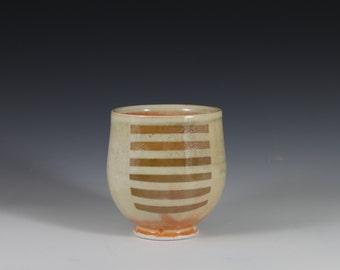 Golden Striped Porcelain Shino Yunomi Wine Tea Cup