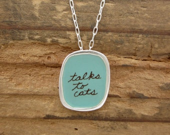 Talks to Cats Necklace - Sterling Silver and Vitreous Enamel Cat Pendant