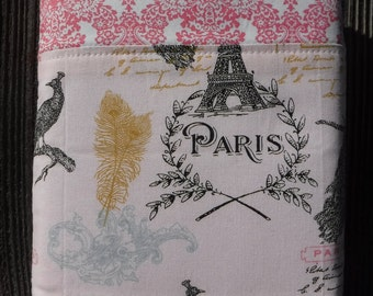 Book Bag, Cloth Book Sleeve, Book Protector, Book Cover, Cloth Book Cover, Fabric Book Pouch, Fabric Book Cover, Gift, French Paris Tower