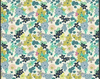 Ladylike Green Tea Floral Fabric - Carnaby Street Collection by Pat Bravo - Art Gallery Fabrics - Premium Cotton Quilting Fabric - One Yard