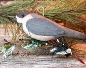 Primitive Christmas Chickadee Bird Ornie, Holiday Decor, Ornament, Holiday Gift, Bird Lover, Soft Sculpture