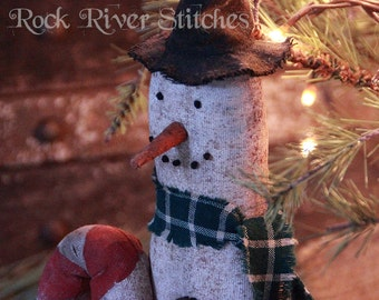 Primitive Christmas Skinny Skiing Snowman, Winter Snowman, Primitive Folk Art Home Decor, Snowman Decoration, Holiday Gift