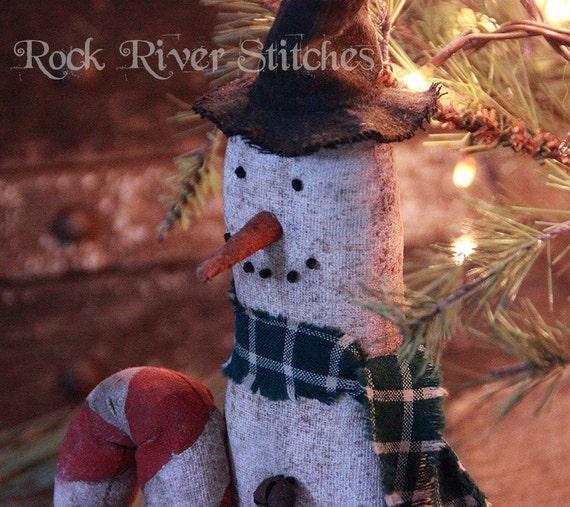 Primitive Christmas Skinny Skiing Snowman, Winter Snowman, Primitive Folk Art Home Decor, Snowman Decoration, Holiday Gift
