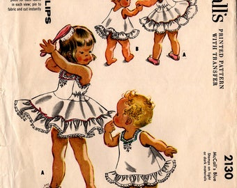 """1957 INFANT SLIPS W/TRANSFERS Pattern McCall's #2130 Size 6 Months """"Instant Slips"""" Vintage Mid-Century Fashions Sewing"""