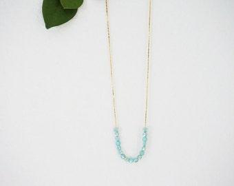 Women Gift Christmas Gift Aqua Necklace Crystal Necklace Gift For Her Gold Necklace Simple Necklace Minimalist Necklace Beaded Necklace Gift